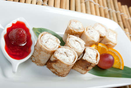 chees: pancakes stuffed with cottage chees .Japanese cuisine