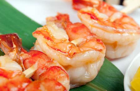 Japanese skewered  seafoods  royal prawn .closeup photo