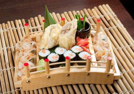 Assorted sushi Japanese food. traditional japanese food.Roll made of Smoked fish Stock Photo - 11744983