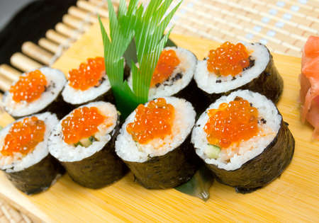 Japanese sushi . traditional japanese food.Roll made of Smoked fish and  roe photo