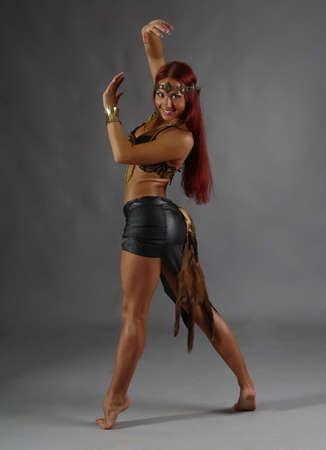 warrior girl: Sexy wild woman  amazon  .young warrior woman  Stock Photo