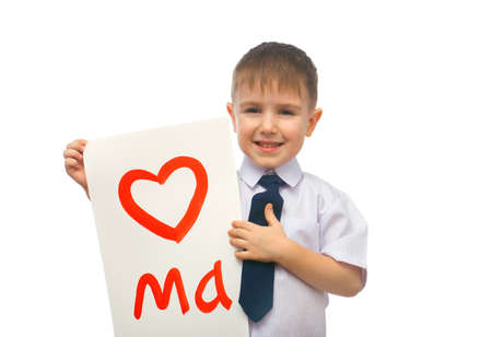 boy hugging drawn heart .Valentines Day concept.heart isolated on white background Stock Photo - 11973543