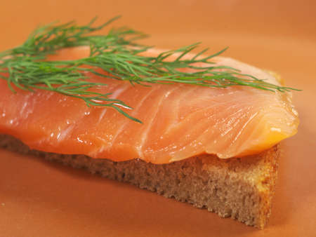 Canapes with smoked salmon  close up  Stock Photo - 12154660