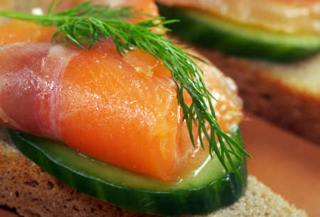 Sandwich with smoked salmon  close up  Stock Photo - 12154685