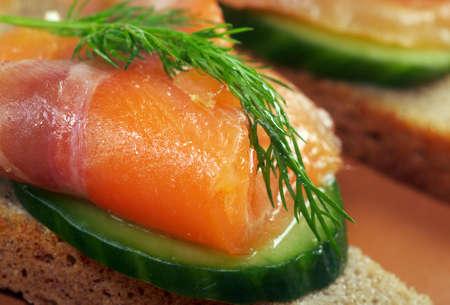 Sandwich with smoked salmon  close up Stock Photo - 12154685