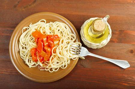 Close up spaghetti with tomato sauce photo