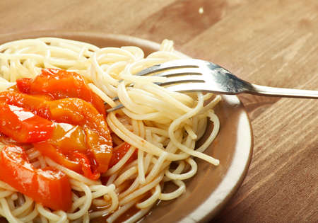Close up spaghetti with tomato sauce photo