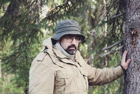 taiga: Hiker  in forest boondocks -taiga