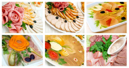 Food set of different Aspic from meat  . collage photo