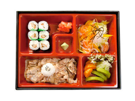 Japanese Bento Lunch  box of fast food with with pork photo