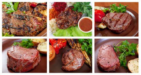 Food set of different  steak  collage Stock Photo