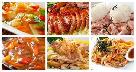 chinese noodles: Food set of different chinese cuisine   collage