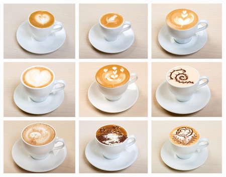 capuchino: Alimentaci�n conjunto de la tapa con el collage de caf�