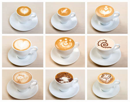 Food set of cap with coffee   collage Archivio Fotografico