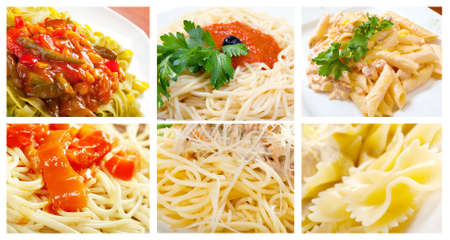 Food set of different  pasta. collage photo
