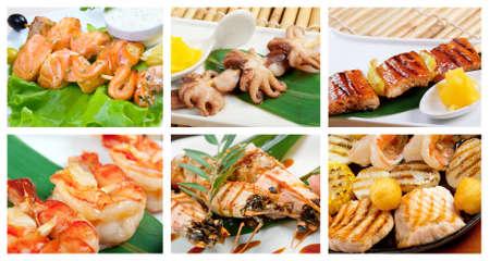 jorobado: Alimentaci�n conjunto de pescados y mariscos diferentes. collage