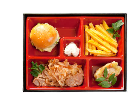 Japanese Bento Lunch  box of fast food with with pork,sandwich and vegetable photo