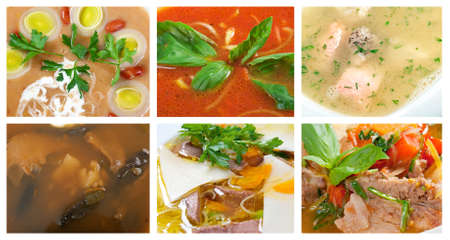 Collection of delicious and healthy soups  collage closeup photo
