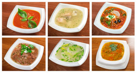 Food set of different  delicious and healthy soups  collage photo