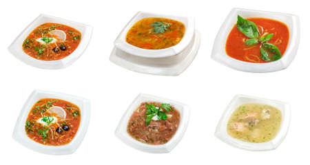 Food set of different  delicious and healthy soups  collage isolated on a white background photo