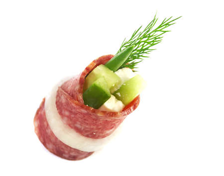 Canape platter with salami,  Shallow depth-of-field.  photo