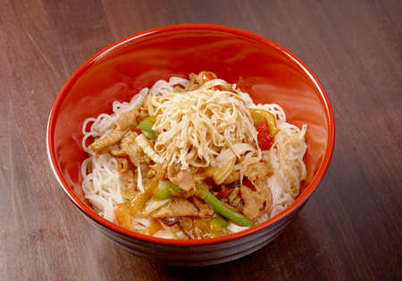 Noodles with pork and vegetable photo