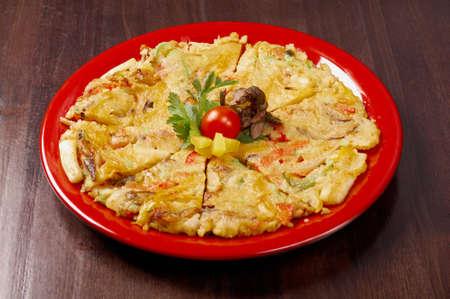 Japanese food close-up Okonomiyaki.(Japanese pizza) Stock Photo - 13302428
