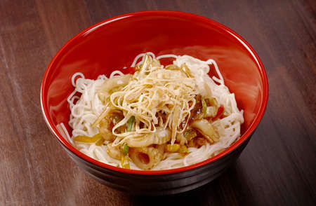 yi mein: Noodles with seafood.traditional japanese food.
