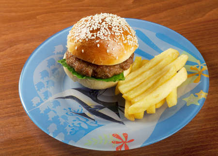 Hamburger with french fries.nursery setting Stock Photo - 13741727
