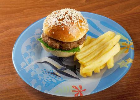 Hamburger with french fries.nursery setting Stock Photo - 13741727