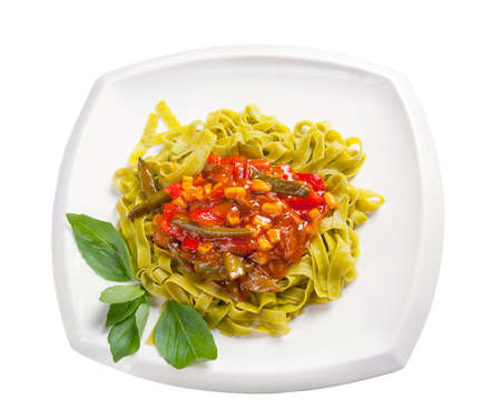 Spaghetti with tomato sauce and vegetables Stock Photo - 13867052