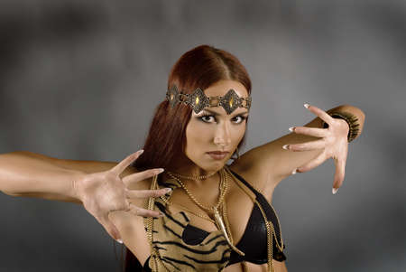 Sexy wild woman  amazon. young warrior woman. photo