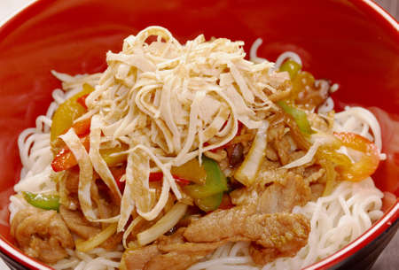 mee pok: Noodles with pork and vegetable