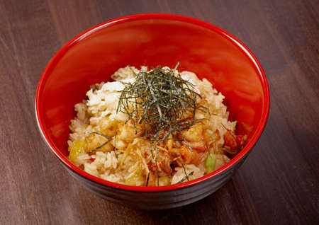 delicious oriental fried rice tyahan with seafood photo