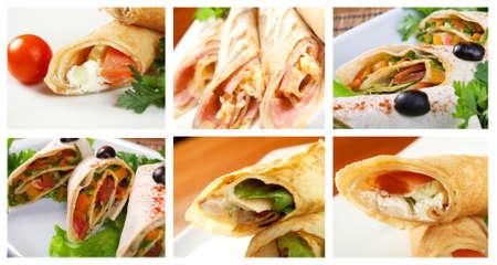 crepas: Colocar los alimentos de los diferentes panqueques rellenos laminados. collage