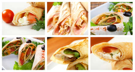 Food set of different rolled pancakes stuffed . collage photo