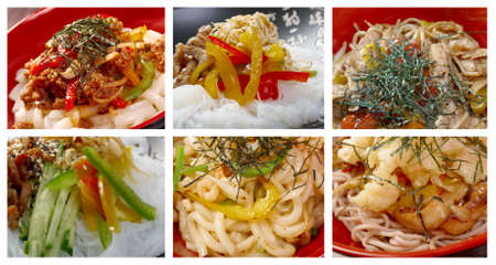 mee pok: Food set of different   noodle . collage Stock Photo
