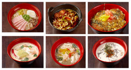 japanes: Food set of different  asiatic,chinese,Japanes soup  collage