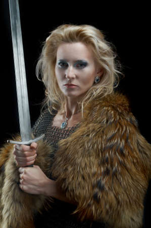 classic woman: Valkyrie.Viking girl with sword
