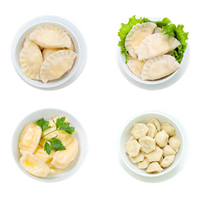 collection vareniks.Ukrainian foods closeup  Isolated on white background. clipping Path  photo