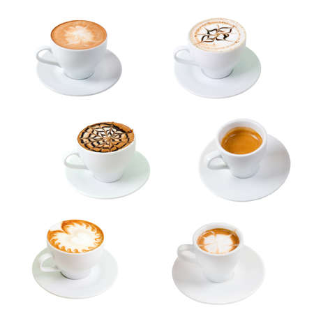 collection Cup of coffee . isolated on white background. clipping Path