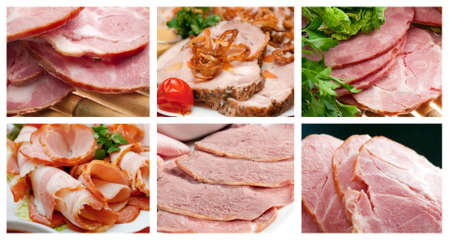 meat dish: Food set Beautiful sliced food arrangement of meat. Stock Photo