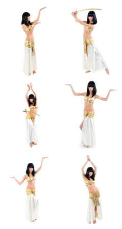 danseuse orientale: mettre la femme en Egypte Bellydance style jaune Banque d'images