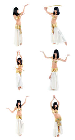exotic dancer:  set Bellydance woman in yellow egypt style Stock Photo