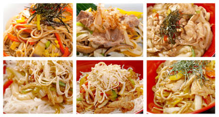 Food set of different   noodle . collage photo