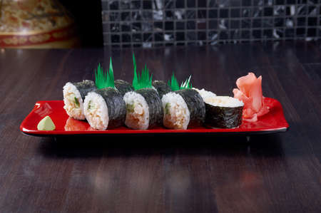 Japanese sushi  traditional japanese food.Roll made of Smoked fish photo
