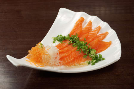 Salmon seshimi . traditional japanese food Stock Photo