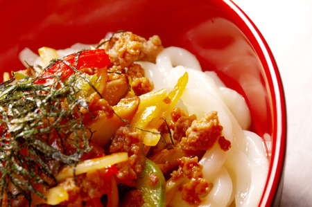 tendon: udon noodles with beef tendon stew Japanese cuisine