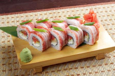 sashimi: Japanese Cuisine - Sushi Roll with  Bacon