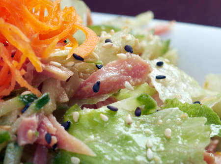 Japan salad with smoked chicken and vegetables   closeup Stock Photo - 15692026
